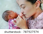close up mother nice smelling... | Shutterstock . vector #787527574