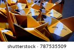 orange origami foxes | Shutterstock . vector #787535509