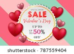 valentines day card big sale... | Shutterstock .eps vector #787559404
