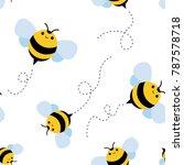 Bee Seamless Pattern. Honey...