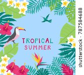 summer time hand drawn tropic... | Shutterstock .eps vector #787584688