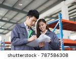 young chinese man and woman... | Shutterstock . vector #787586308