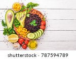 black rice  avocado  cucumber ... | Shutterstock . vector #787594789