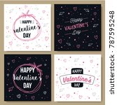 greeting card pack valentine... | Shutterstock .eps vector #787595248