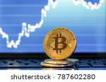 bitcoin. golden bitcoin on the... | Shutterstock . vector #787602280