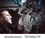 closeup repair of an opposing... | Shutterstock . vector #787606279
