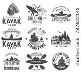 set of canoe and kayak club... | Shutterstock .eps vector #787622143