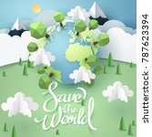 paper art and origami of earth... | Shutterstock .eps vector #787623394
