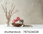 paschal still life with pysanky ... | Shutterstock . vector #787626028