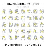 set of vector line icons and... | Shutterstock .eps vector #787635763