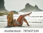 young woman relaxing on the... | Shutterstock . vector #787637134