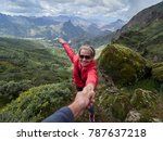 young woman tourist in alpine... | Shutterstock . vector #787637218