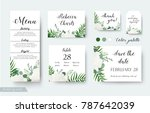 wedding cards floral design.... | Shutterstock .eps vector #787642039