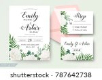 Stock vector wedding cards floral design invite invitation rsvp response card save the date set white 787642738