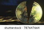 cracked bitcoin token.... | Shutterstock . vector #787647664
