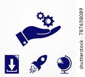 cogwheel on hand icon. vector...