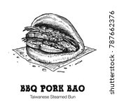 hand drawn bbq pork bao... | Shutterstock .eps vector #787662376