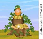 leprechaun in a green hat and... | Shutterstock .eps vector #787662574