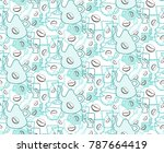doodle pattern of coffee seeds  ... | Shutterstock .eps vector #787664419