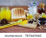 toast and fruit jam for... | Shutterstock . vector #787665460