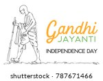 line drawing mahatma gandhi ... | Shutterstock .eps vector #787671466