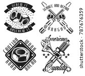 set of vintage mechanic emblems ... | Shutterstock .eps vector #787676359