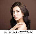 closeup young beauty on brown... | Shutterstock . vector #787677664