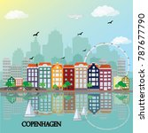 copenhagen skyline. flat style... | Shutterstock .eps vector #787677790