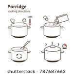 steps how to cook porridge. ... | Shutterstock .eps vector #787687663