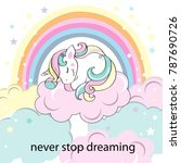 beautiful unicorn asleep on the ... | Shutterstock .eps vector #787690726
