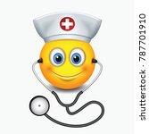 cute nurse emoticon wearing hat ... | Shutterstock .eps vector #787701910