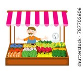 local market farmer selling... | Shutterstock .eps vector #787702606
