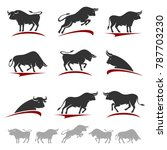 bull collection set. vector  | Shutterstock .eps vector #787703230