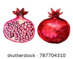 a pomegranate painted in... | Shutterstock . vector #787704310