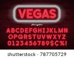 neon light alphabet  realistic... | Shutterstock .eps vector #787705729