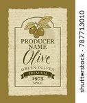 vector label for green olives... | Shutterstock .eps vector #787713010