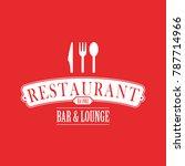 red restaurant logo | Shutterstock .eps vector #787714966