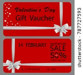 gift voucher template with bow... | Shutterstock .eps vector #787727593