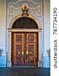 antique wooden door with... | Shutterstock . vector #787734190
