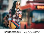 young woman traveler waiting... | Shutterstock . vector #787738390