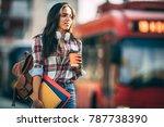young woman traveler waiting... | Shutterstock . vector #787738390