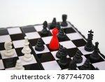 red ludo figurine on chessboard ... | Shutterstock . vector #787744708