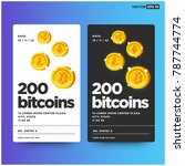 200 bitcoins card with text...