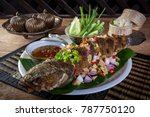 fried fish with herb and spicy... | Shutterstock . vector #787750120