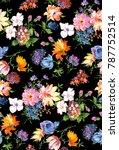 watercolor flower pattern   Shutterstock . vector #787752514