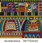embroidery seamless pattern.... | Shutterstock .eps vector #787752610