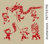 chinese paper cutting art  kids ... | Shutterstock .eps vector #787755790