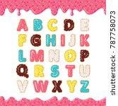 font of donuts. bakery sweet...   Shutterstock .eps vector #787758073