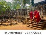 Buddhist Monks Enter The Bayon...