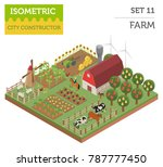 flat 3d isometric farm land and ... | Shutterstock .eps vector #787777450